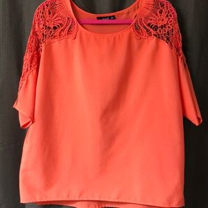 Women's coral crochet shoulder blouse